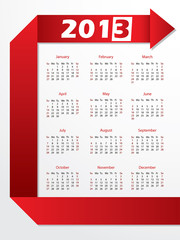 2013 calendar with red arrow origami