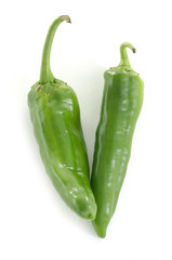 Two green chili peppers