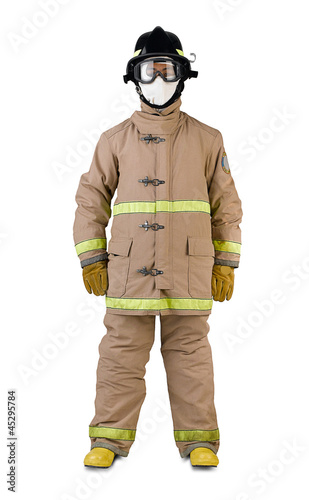 firefighter in a fireman uniform isolates on white