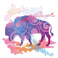 Schattenhklecks Büffel