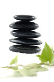 Pebble tower with mint leaves