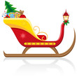 christmas sleigh of santa claus with gifts vector illustration