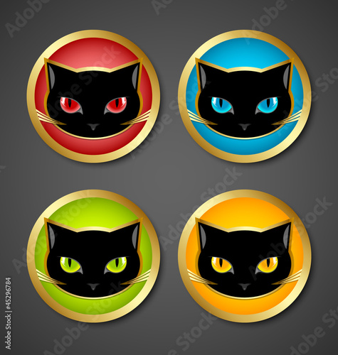 Black cat head icons
