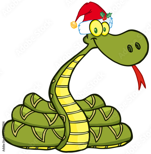 Snake Cartoon Character With Santa Hat