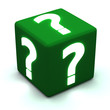 Green cube with glowing question marks 3d
