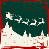 Christmas Sleigh 4 Flying Reindeers Retro Green/Red/Beige