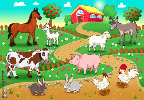 Foto op Canvas Boerderij Farm animals with background. Vector illustration