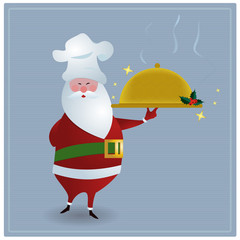 Santa with chefs hat, holding golden serving dish