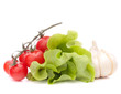 Fresh lettuce salad leaves bunch and cherry tomato
