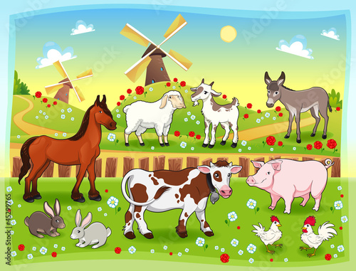 Foto op Canvas Boerderij Farm animals with background. Vector illustration.