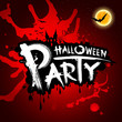 Halloween party blood red background, vector
