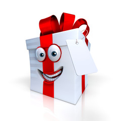 Cadeau blanc avec ruban rouge Toon