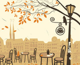 Fototapety autumn landscape with a street cafe