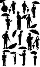 L'homme avec un chapeau et parapluie