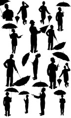 Man with a hat and umbrella