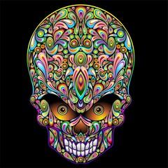 Psychedelic Skull Design-Teschio Psichedelico Pop Art-Vector