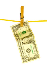 laundered dollar on a rope