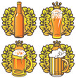 banners on topic with beer glasses, bottle and laurel wreath