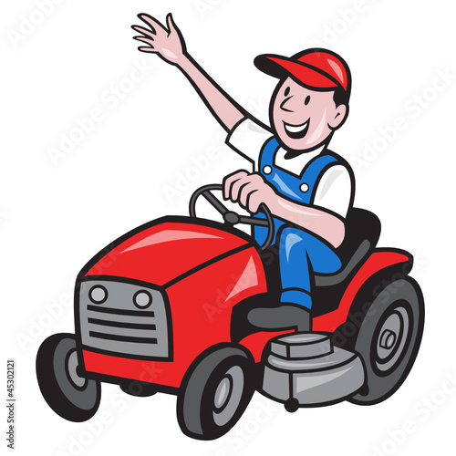 Farmer Driving Ride On Mower Tractor