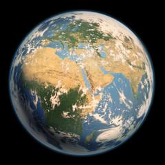 ヨーロッパ・アフリカ・中東の見える地球 雲有り