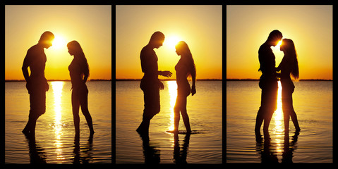 Couple silhouette at the beach kissing each others.