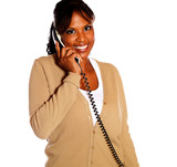 Adult woman looking at you speaking on phone poster