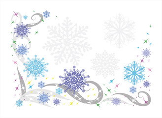 Beautiful winter background with snowflakes and patterns