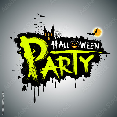 Halloween party. message design, vector