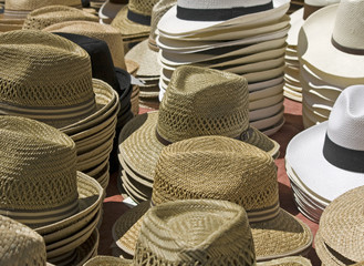 Straw hat, fore sale, market from Provence.