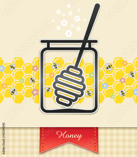 jar with honey and spoon. food background vector illustration