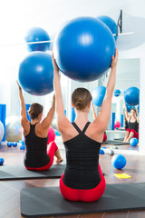 stability ball in women Pilates class rear view