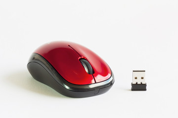 Wireless mouse red color.