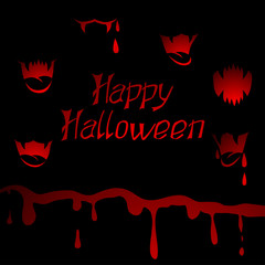 Halloween vector background with sharp teeth and blood.