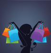 background with girl silhouette and shopping bags