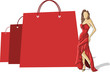 Shopping paper bags and pretty woman in red dress