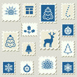 Set of postal stamps with Christmas decoration symbols.