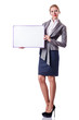 Woman and blank board on white