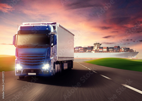 Truck and Cargo Ship