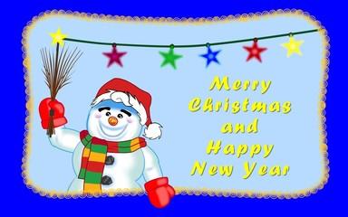 Weihnachtsgruss vom Schneemann englisch