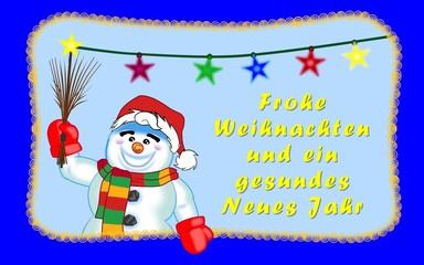 Weihnachtsgruss vom Schneemann deutsch