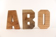 ABO text animation with wood letter version 1