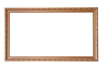 Old gilded frame isolated on white background
