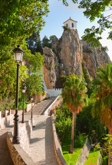 Bell tower, castle, Guadalest village, Alicante, Spain