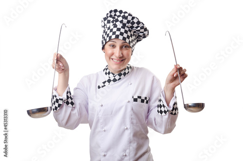 Woman cook with ladle on white