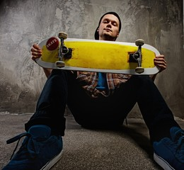 Young man with a skateboard