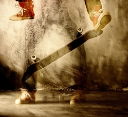 Skateboard trick in motion
