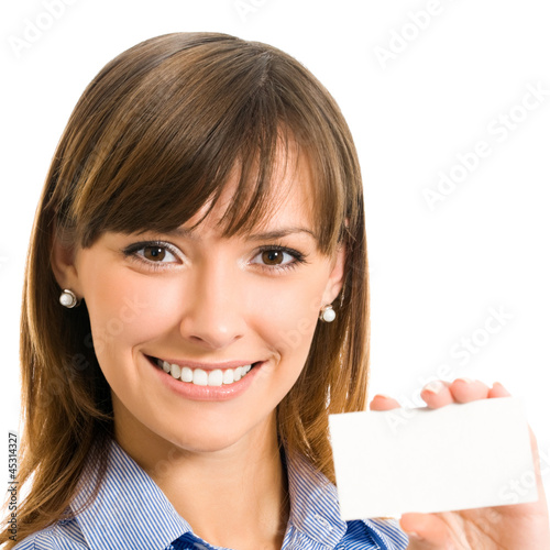 Businesswoman with blank business or plastic card