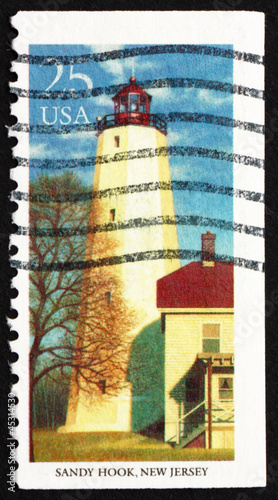Postage stamp USA 1990 Sandy Hook, New Jersey, Lighthouse