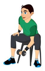 Exercising, man lifting dumbells, illustration