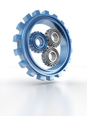 Gear wheels concept icon of leadership or teamwork